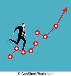 실업가 달리기, 통하고 있는, 빨강 화살, 그래프, 올라가고 있는., 사업, vision.