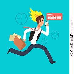 실업가 달리기, race., 돌진, 노동자, 와, smartphone, 와..., 유가 증권 일람표, 와, 종이, documents., 사선, 벡터, 개념