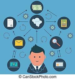 실업가, 둘러싸인다, 사업, 활동, 아이콘
