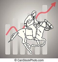 실업가, 말 등 따위에 타기, a, 말, woth, 빨강 화살, 그래프, 위로의, 벡터, 삽화, 낙서, 밑그림, 손, 그어진, 와, 검정, 은 일렬로 세운다, 고립된, 통하고 있는, 회색, 배경., 사업, concept.