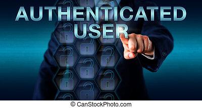 실업가, 미는 것, authenticated, 사용자, 스크린 위다