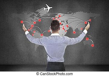 실업가, 보는, 계획, 의, 국제적이다, 비행