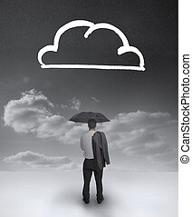실업가, 보는, 그림, 의, a, 구름
