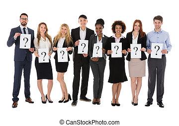 실업가, 보유, 물음표, 표시