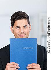 실업가, 보유, 신청, 파일, 에서, 사무실