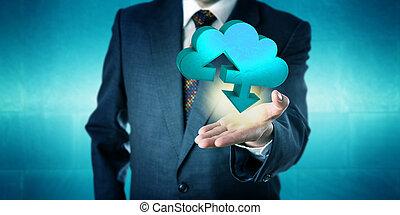 실업가, 보유, a, 고체, 구름, 이전, 아이콘