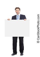 실업가, 보유, a, 기치, 광고, 고립된, 백색 위에서