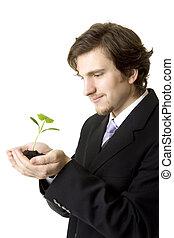 실업가, 보유, a, 어린 식물