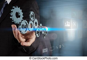 실업가, 손, 일, 와, 새로운, 현대, 컴퓨터, 와..., 사업, s