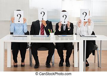 실업가, 숨김, 얼굴, 와, 물음표, 표시