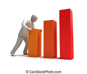 실업가, 와..., 솟는, 그래프