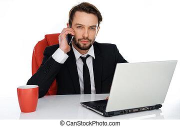 실업가, 요구를 취하는 것, 통하고 있는, 그의 것, 휴대 전화