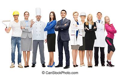 실업가, 위의, 다른, 전문가, 직원