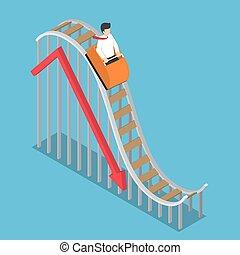 실업가, 은 이다, 구, 통하고 있는, a, 롤러코스터, 와, 떨어지는 도표