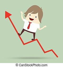 실업가, 은 이다, 행복하다, 와..., 달리기, 위로의, 통하고 있는, 빨강 화살, 성장하는, 그래프, 사업 개념