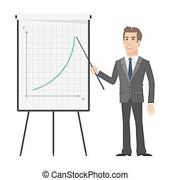 실업가, 은 지적한다, 통하고 있는, 플립 차트, 와..., 미소