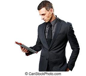 실업가, 을 사용하여, 정제, 컴퓨터, 고립된, 통하고 있는, a, 백색 배경