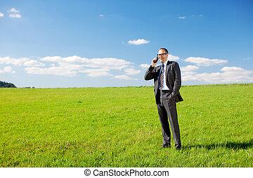 실업가, 전화, 에서, a, 녹색 분야