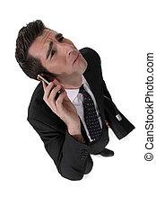 실업가, 취득, a, 나쁘다, 전화