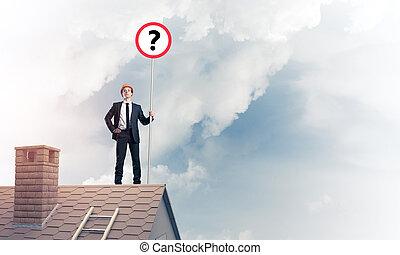 실업가, 통하고 있는, 벽돌 집, 지붕, 전시, 기치, 와, 물음표