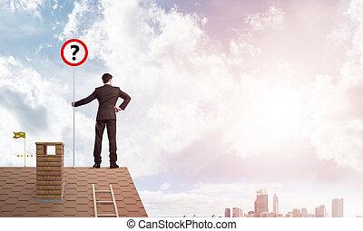 실업가, 통하고 있는, 벽돌 집, 지붕, 전시, 기치, 와, 질문, mark., 혼합 매체