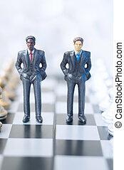 실업가, 통하고 있는, 체스판