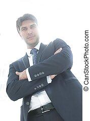 실업가, 통하고 있는, a, 배경, 의, 자형의 것, 빈 광주리, 회의실