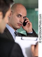 실업가, 통하고 있는, a, cellphone