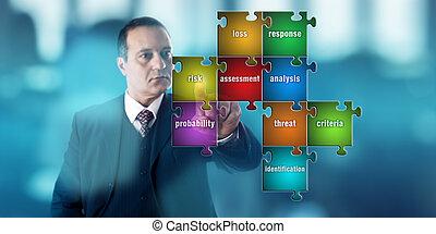 실업가, focussing, 통하고 있는, a, 위험도의 사정, 수수께끼