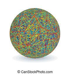 심상, 고립된, 작은 그물을 짜는 섬유, 다색이다, 벡터, ball.