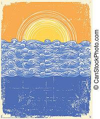 심상, 조경., grunge, 떼어내다, 삽화, 바다, 벡터, waves.