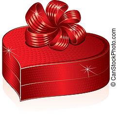 심장, 그림, box., 선물, 은 형성했다, 벡터