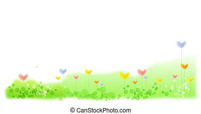 심장, 꽃, 에서, 녹색 잔디밭
