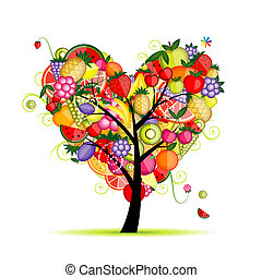 심장, 나무, 너의, 과일, 디자인, 에너지, 모양