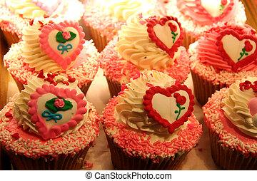 심장, 단 것, 케이크, 컵