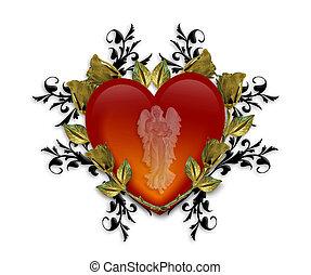 심장, 문자로 쓰는, 천사, 보호자, 빨강, 3차원