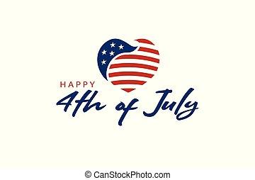 심장, 미국, july., 제 4, 로고, 축하