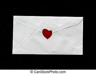 심장, 봉투, 발렌타인, 검정, 일, 빨강