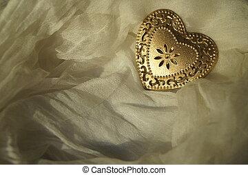 심장, 비단, 금속, 배경, 황금