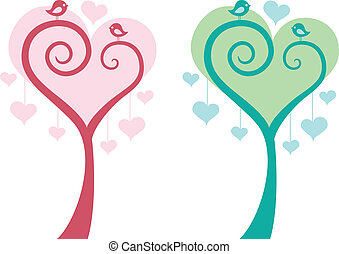 심장, 새, 벡터, 나무