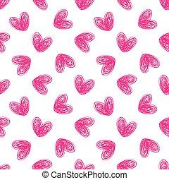 심장, 손, 그어진, seamless, 패턴
