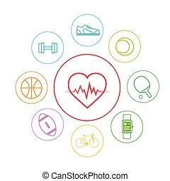 심장, 스포츠, 적당, app, 아이콘, 세트, 은 선을 엷게 한다, 단일의, 다채로운