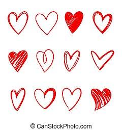 심장, 시리즈, 벡터, 세트