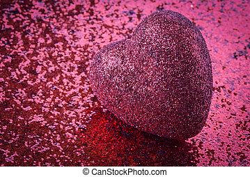 심장, 연인, 배경, 반짝임, 일, 빨강