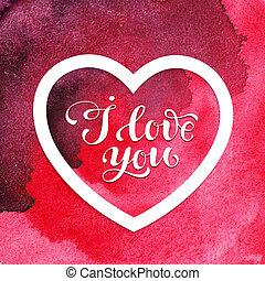 심장, 연인, 수채화 물감, 빨강, 휴일, 일, 카드
