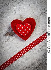 심장, 연인, 장식, 빨강, 일, 리본