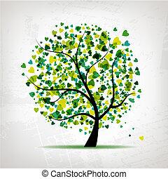 심장, 잎, 떼어내다, 나무, 디자인, 배경, grunge, 너의