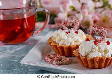심장, 컵케이크, 연인, 훈장, 일, 빨강