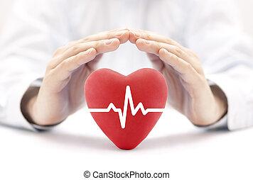 심장, 펄스, 덮는, 얼마 만큼, hands., 건강 보험, 개념