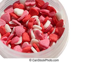 심장 형태다, 고립된, 설탕, 배경, 소량, 백색